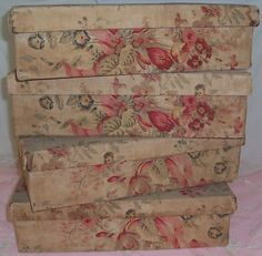 vintage french linen covered boxes