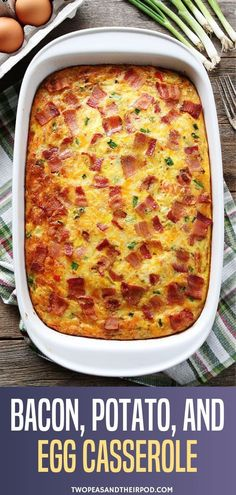 Bacon, Potato, and Egg Casserole The perfect breakfast recipe with eggs, bacon, and potatoes! This easy casserole can be prepared ahead of time and is a real crowd-pleaser. It is the best Christmas recipe that is easy to make. Save this pin for later! Easy Holiday Recipes, Easy Brunch Recipes, Egg Recipes For Breakfast, Simple Egg Recipes, Egg Recipes For Dinner, Recipes For Eggs, Meals With Eggs, Egg Dishes For Brunch, Easy Crowd Meals