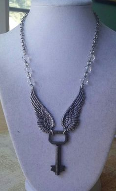 Upcycled Vintage Winged Key Necklace Hardware by RustySpiderweb - Picmia