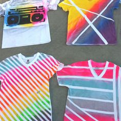 Totally gonna do this - spray paint shirts with duck tape designs. Or even tye-dying your shirts with duck tape on it. Cute Crafts, Crafts To Do, Crafts For Kids, Diy Crafts, Neon Spray Paint, Spray Painting, Tape Painting, Spray Paint Shirts, Fabric Painting