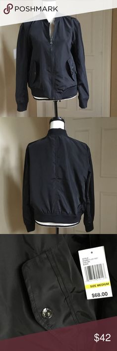 Kensie black bomber jacket NWT Stylish and trendy bomber jacket new with tags Kensie Jackets & Coats