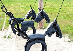 Why not reuse old tyres to make an original horse swing like these?