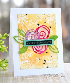Happy Birthday swirly flowers! By Virginia for the Simon Says Stamp Wednesday Challenge blog.