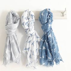 cotton swallow print scarf by lilac coast | notonthehighstreet.com