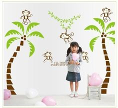 New Design Two Coconut Tree and Five Monkeys Kids Room Wall Decor Stickers