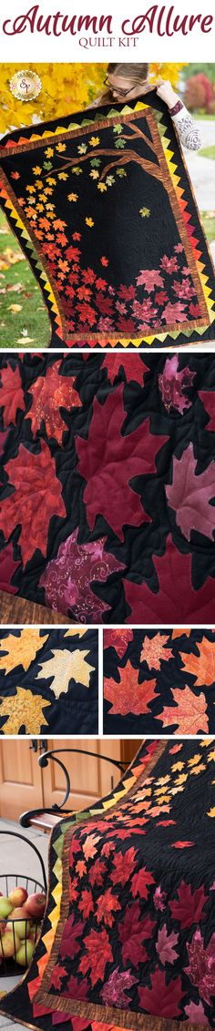 Bring the beautiful colors of Fall to your home with the Autumn Allure Quilt! This is a Shabby Fabrics Exclusive! Baby Quilt Tutorials, Baby Quilt Patterns, Applique Patterns, Applique Quilts, Quilting Patterns, Quilting Ideas, Quilt Kits, Quilt Blocks, Fall Sewing Projects