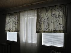 "Marimekko curtains in a Finnish living room. ""Sarastaa"" fabric by Erja Hirvi  2007. #Marimekko #Finland"