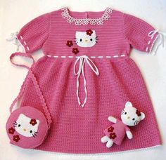 How to tutorial knitting and crochet baby pattern free Crochet Bebe, Crochet Girls, Crochet For Kids, Knit Crochet, Chat Hello Kitty, Hello Kitty Dress, Baby Clothes Patterns, Crochet Baby Clothes, Dress Patterns