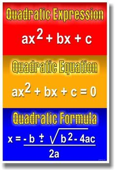 Quadratic Expression, Quadratic Equation, Quadratic Formula - Math Classroom Poster by PosterEnvy, http://www.amazon.com/dp/B008NO6ZEK/ref=cm_sw_r_pi_dp_4klvrb0KC55AE