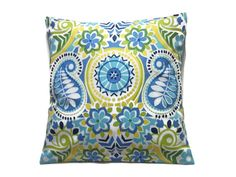 Decorative Pillow Cover Navy Blue Sky Blue Olive Green