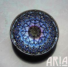 CZECH GLASS BUTTON: 32mm Ornate Filigree Medallion Handpainted Czech Glass Button, Pendant, Cabochon (1)