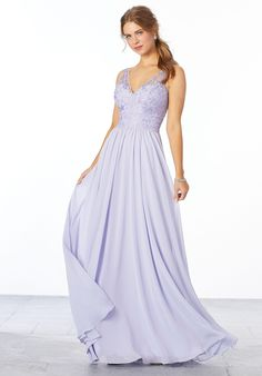 Style 21656 from Morilee Madeline Gardner is a feminine chiffon bridesmaid gown with a sleeveless embroidered illusion bodice, front and back V neck, and flowing A-line skirt. Mori Lee Bridesmaid Dresses, Bridesmaids, Bridal And Formal, Feminine Dress, Chiffon Skirt, Pleated Skirt, Dream Dress, Fashion Dresses, Women's Fashion