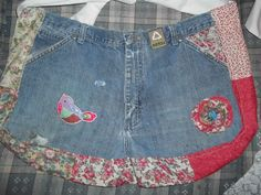 recycled blue jean apron with iron on bird patch and handmade fabric flower and recycle iron on patch