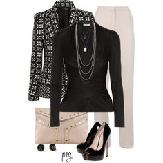 A fashion look from September 2013 featuring black shirt, black jacket y wide-leg pants. Browse and shop related looks.