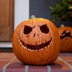 Add a little Disney magic to your Halloween with this creepy Jack Skellington pumpkin carving template.