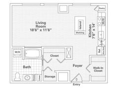 Studio Historic Floor Plan of Property Eitel Building City Apartments. Eitel Building City Apartments with large closets, over-sized storage and spacious floor plans in downtown Minneapolis. Apartments for rent in Loring Park.