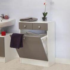 Elément bas de salle de bain, 2 tiroirs, 1 bac à linge - Taupe