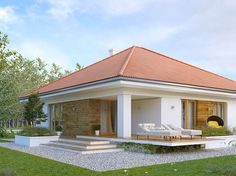 Rustic Italian Home Bungalow Haus Design, Modern Bungalow House, Modern Mansion, House Plans Mansion, Bedroom House Plans, House Layout Plans, House Layouts, House Paint Exterior, Exterior Design