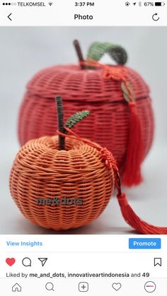 rattan fruit Rattan Basket, Baskets, Basket Decoration, Basket Weaving, Hand Bags, Fiber, Paper Crafts, Christmas Ornaments, Fruit