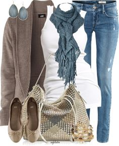 Love this look- Casual Fall Outfit With Brown Cardigan,Lace Scarf and Casual Jeans Jeans Casual, Cute Casual Outfits, Comfy Casual, Chic Outfits, Sexy Outfits, Casual Chic, White Casual, Classic White, Sport Outfits