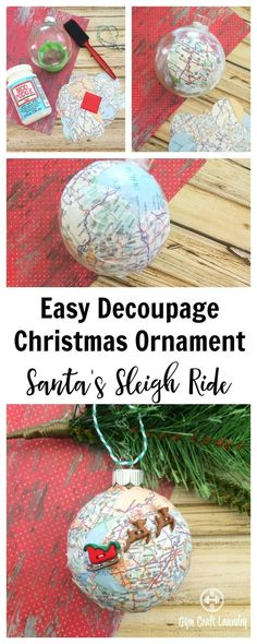 Easy Decoupage idea for #Christmas. Make this adorable #Santa Sleigh Decoupage Ornament in minutes! #DIYchristmas