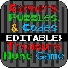 Ciphers, Puzzles, and Codes Treasure Hunt - EDITABLE! Great site with tons of themed scavenger hunts (for sale) Mall Scavenger Hunt, Scavenger Hunt Riddles, Hunting Crafts, Deer Hunting Tips, Archery Hunting, Treasure Hunt Riddles, Learn Hebrew Online, Escape Room Puzzles, Spy Party