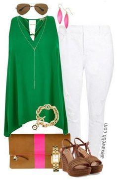 Plus Size Outfit Idea - Plus Size White Jeans - Plus Size Fashion for Women - http://alexawebb.com #alexawebb