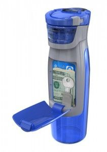 Water bottle with storage compartment for cash, keys and cards