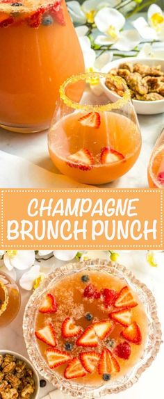 Champagne brunch punch is an easy, fruity, pretty drink recipe that's perfect . Champagne brunch p Brunch Punch, Mimosa Punch, Brunch Mesa, Brunch Buffet, Cheese Burger, Birthday Brunch, Easter Brunch, 70th Birthday, Healthy Brunch