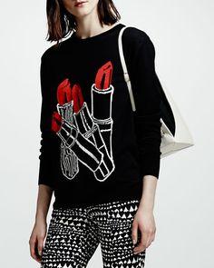 Stella McCartney - Lipstick Intarsia Knit Sweater, Black