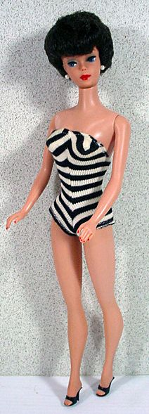Beautiful Black Hair 1961 Barbie Bubble Cut Doll with Red Lips!***