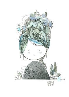 des pics dans les cheveux  sur son front, des cascades, des avalanches, des torrents dans son cou  et sur ses joues, ...