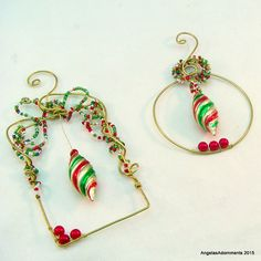 Beaded Christmas Ornaments  Bead and Wire by AngelasAdornments