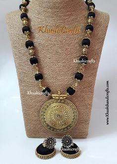 Black shaded Silk thread Jewelry with designer Pendant