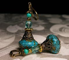 Peacock Blue Aqua Mosaic Turquoise Jeannie Bottle Earrings Steampunk Jewellery Vintage Victorian Style from TitanicTemptations on Etsy.