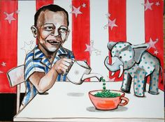 """Pea Party  (Eat Your Peas)  15""""x20""""  gouache/ink on illustration board"""