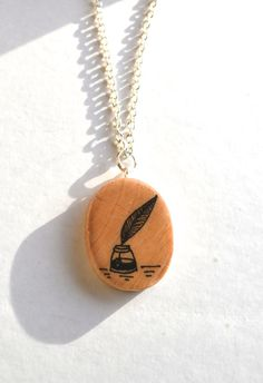 Oval Quill pendant Silver wooden Quill necklace by WishlistArt