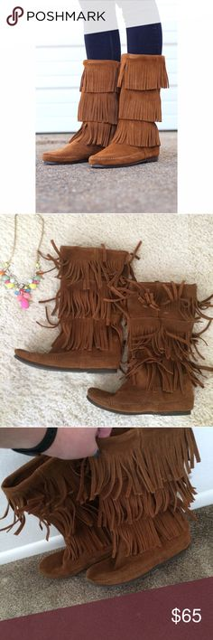 Minnetonka boots Gorgeous brown Minnetonka boots. They have three layers of fringe. They go about mid calf. Padded insole. Rubber sole. Soft suede leather. Worn a few times but still in good condition. Minnetonka Shoes