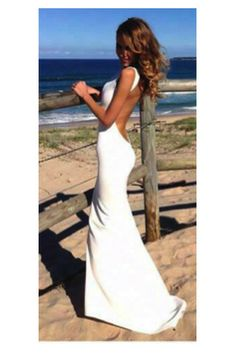 Long White Backless with Short Train (63901) - MADE to ORDER | Bridal wear, bridesmaid and red carpet dresses from Elliot Claire London