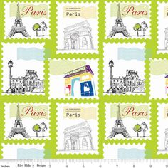 Riley Blake Designs - Pepe in Paris - Stamp in Lime