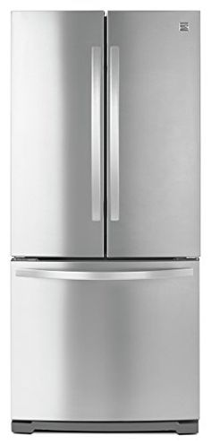 """Kenmore 30"""" Wide Non Dispense Bottom Freezer Refrigerator in Stainless Steel (Available in select cities only)  Only available in select cities. Item includes room of delivery, unboxing, item hook-up and free optional haul-away at checkout  19 cubic foot capacity with 30 inch wide French door. Includes a factory-installed ice maker for easy set-up  SmartSense temperature management works alongside a CleanFlow charcoal air filter to maintain optimal temperatures throughout the fridge an..."""