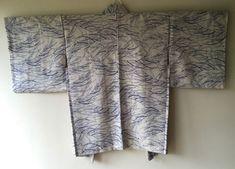 Vintage Japanese Kimono Haori Jacket Silk blue grass