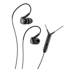 MEE audio Sport-Fi M6P Memory Wire In-Ear Headphones with Microphone, Remote, and Universal Volume Control (Black)