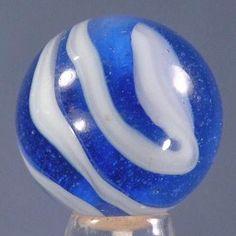 "Vintage Akro Agate marble - blue and white ""onyx"" style corkscrew - 5/8"""