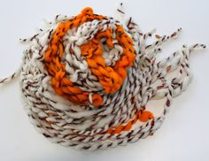 Hand Knit Bulky Scarf Pumpkin Ivory and Orange and by bpenatzer, $98.00