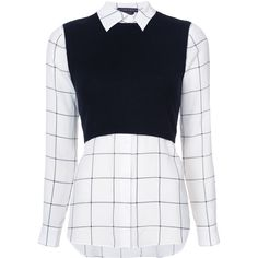 Alice+Olivia Lucinda layered shirt ($580) found on Polyvore featuring women's fashion, tops, shirts, blouses, blusas, black, double layer shirt, black and white shirt, double layer top and white and black top