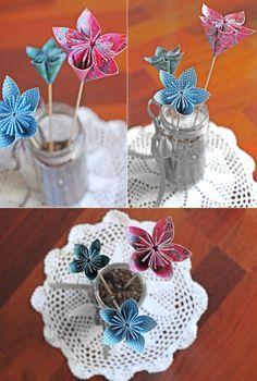 DIY #13. Centros de mesa con flores de papel/Paper flowers centerpieces