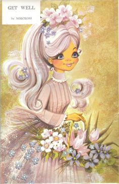 Greeting Card - Vintage Get Well giftcard sixties girl