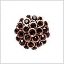Copper/Black+Rhinestoned+Metal+Shank+Back+Button+-+32L/20mm