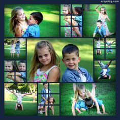 Great kid poses - 11 image pattern from Cropdog.com - Super easy,  just drag and drop your photos into the spots.